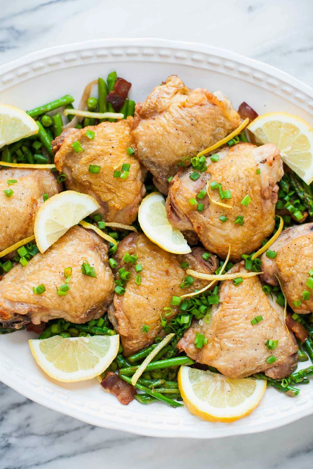 Crispy Chicken with Spring Vegetables | acalculatedwhisk.com