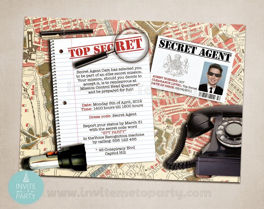 Invite Me To Party Secret Agent Party Detective Party Spy Party