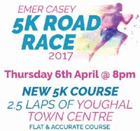 5k race in Youghal, Co.Cork...Thurs 6th Apr 2017