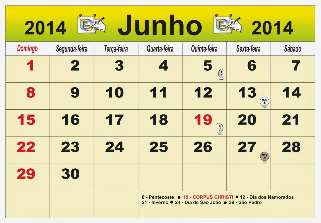 ... Brasil do mês de Junho 2014, com as fases da lua e feriados nacional