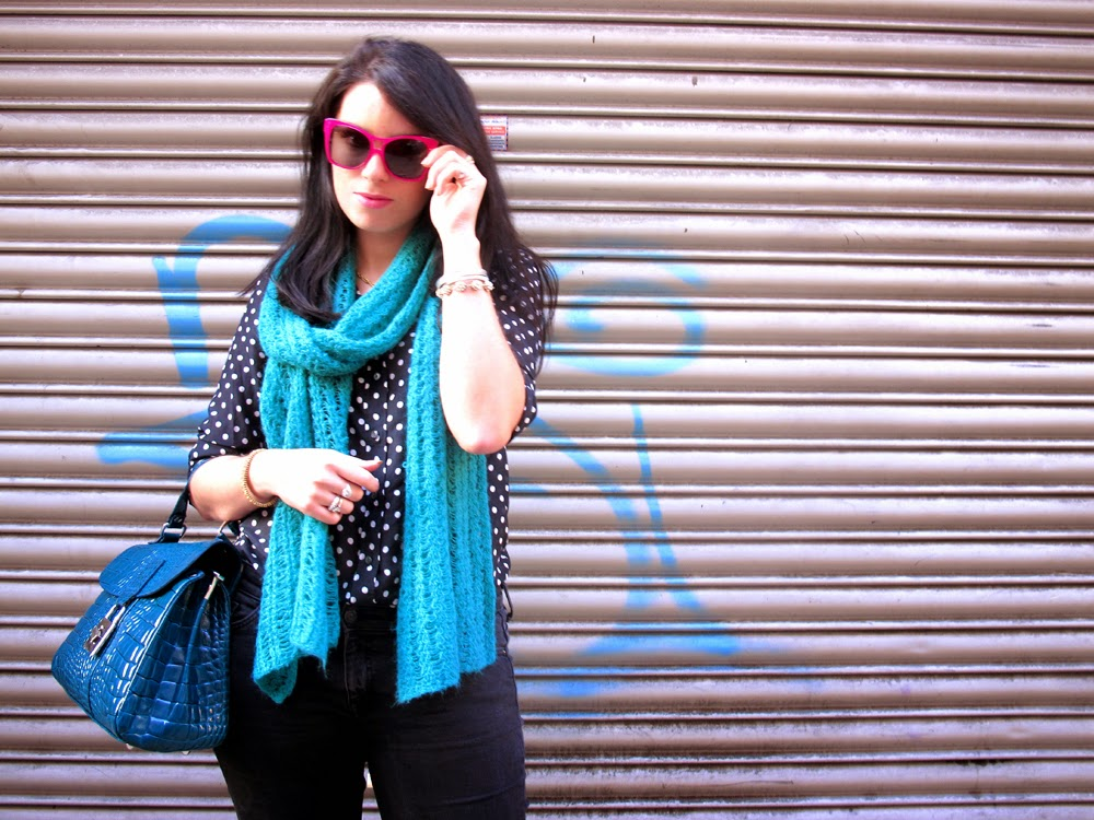 London fashion blogger Emma Louise Layla Duff in J Crew polka dot shirt and pink Finest Seven sunglasses