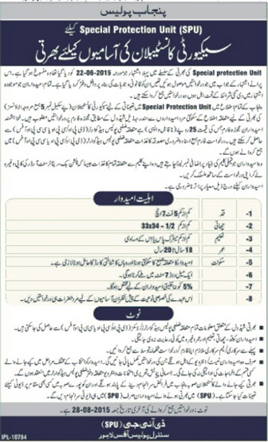 Security Constable Jobs in Punjab Police Special Protection Unit
