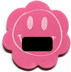 Pink smiley face with black bar over mouth