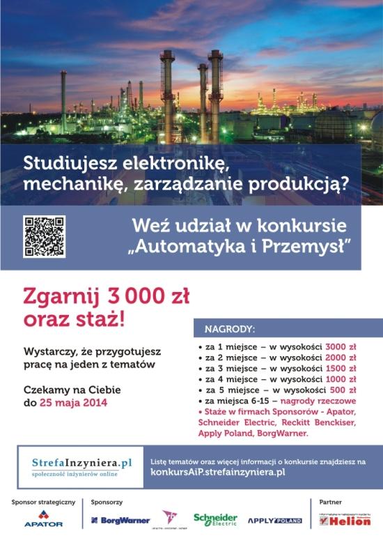 Plakat reklamujący konkurs Automatyka i Przemysł