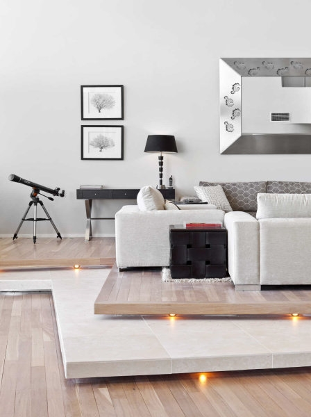 Modern white sofa in living room