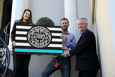 Angela De Souza with Andy Jones of Pizza Express and Will Lewis of The Best of Cheltenham