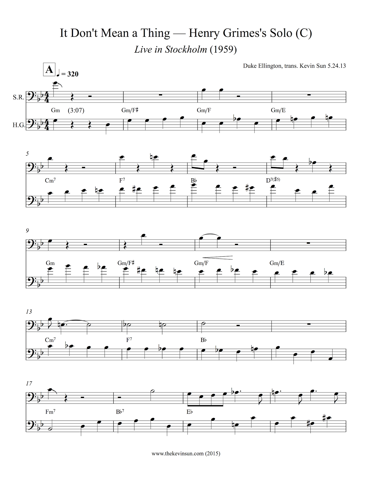 """Henry Grimes Jazz Bass Solo Transcription – """"It Don't Mean a Thing"""""""