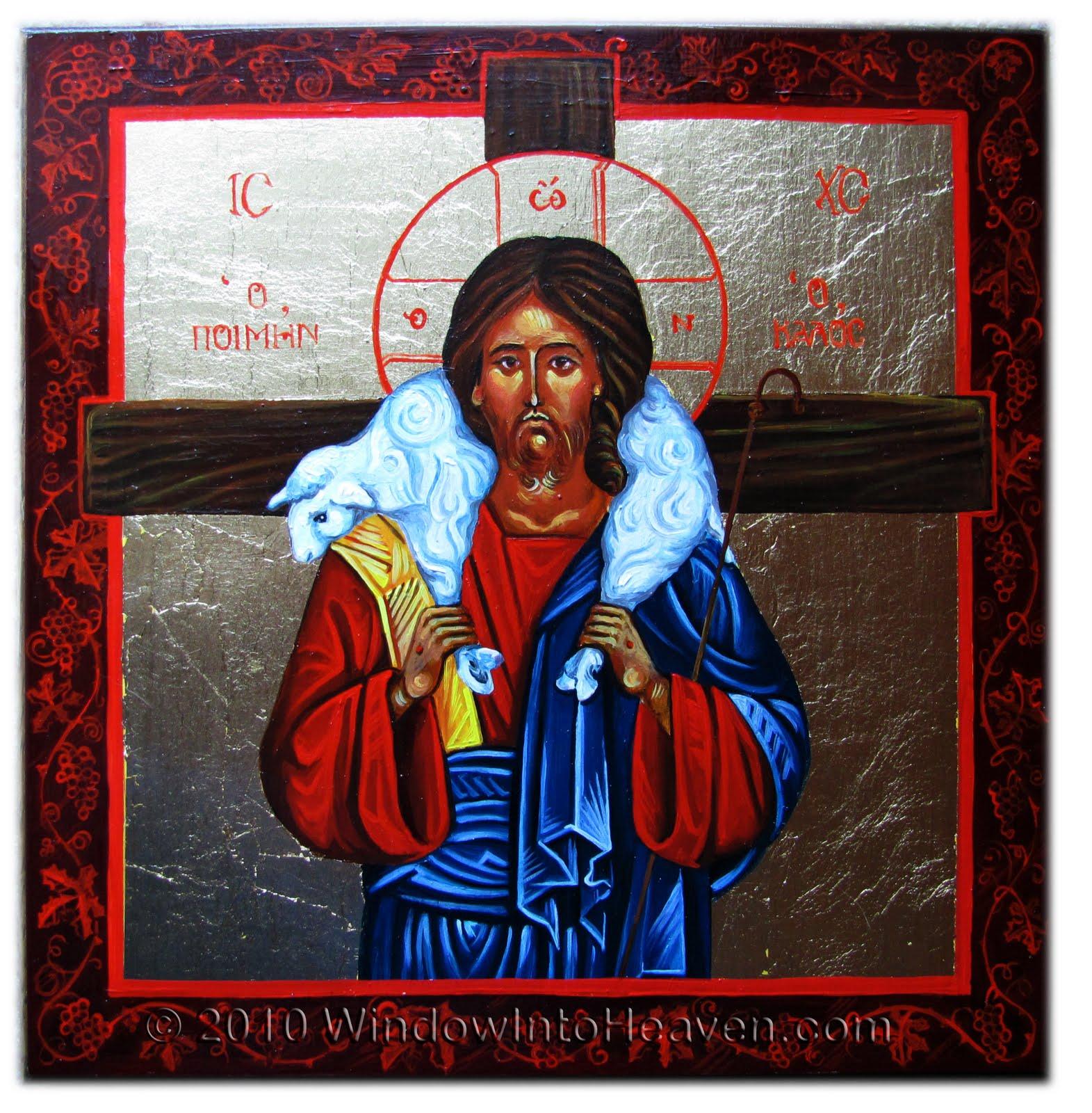 Il Buon Pastore dans immagini sacre Christ+the+Good+Shepherd+WindowIntoHeaven+Anna+Edelman