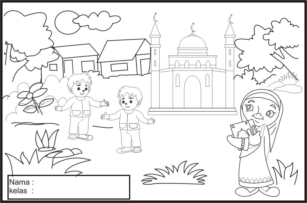 Image Result For Gambar Mewarnai Masjid Sd