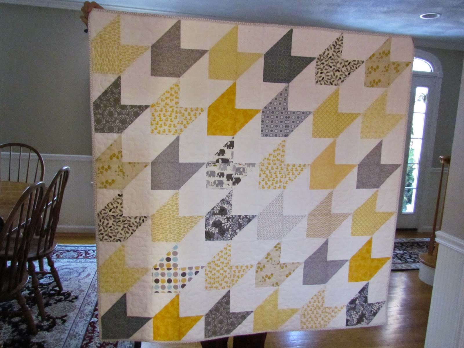 Kayakquilting Finished Chevron Baby Quilt And Basket