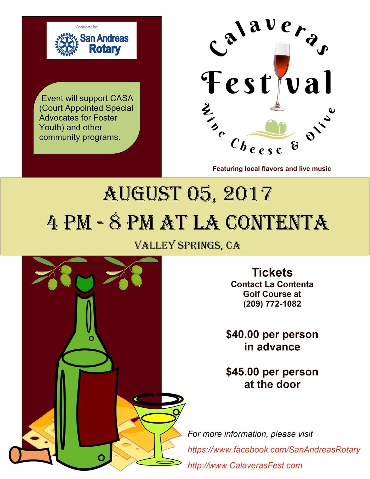 Calaveras Wine, Cheese & Olive Festival - Sat Aug 5