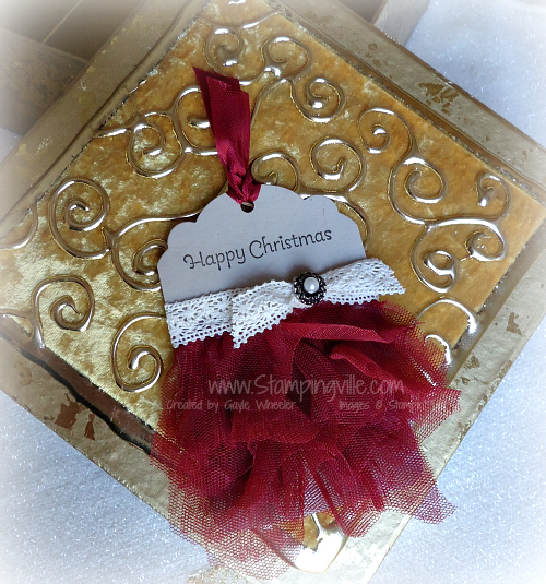 Happy Christmas Gift Tag with Tulle Ruffles