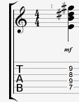 Emaj7 guitar chord