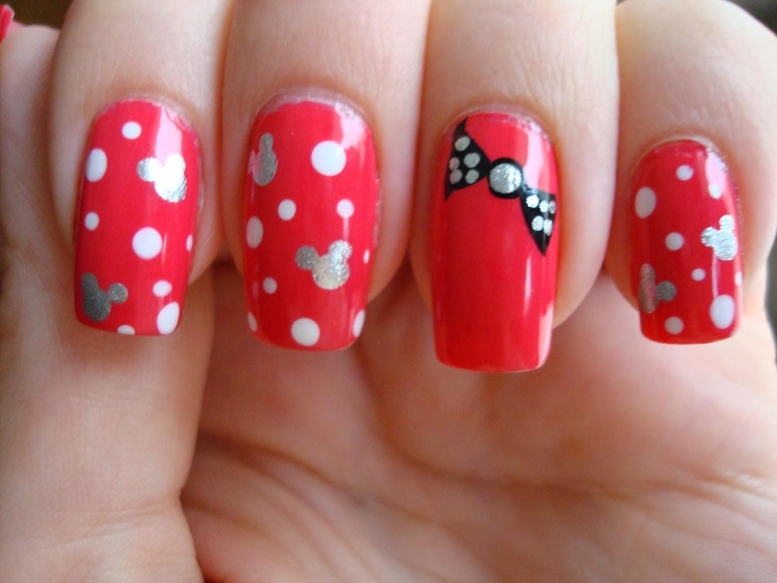 Polished Minnie Mouse Nails