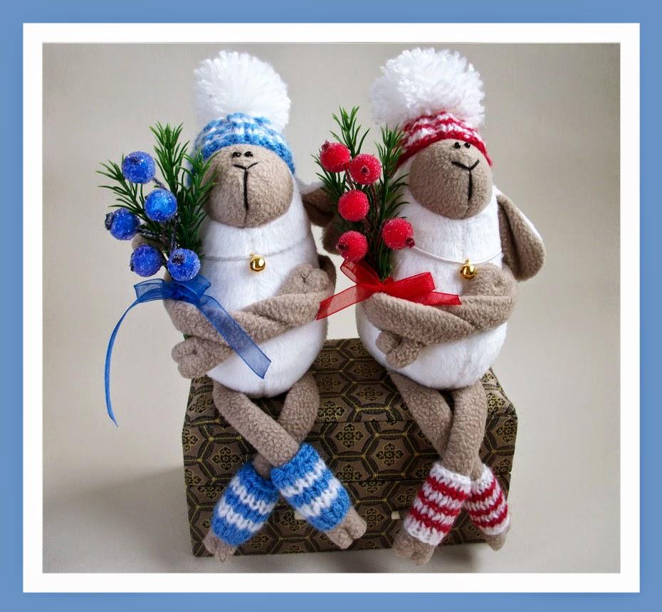 овечки текстильные новогодние 2015 хендмейд