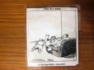 Gary Larson comic about no television