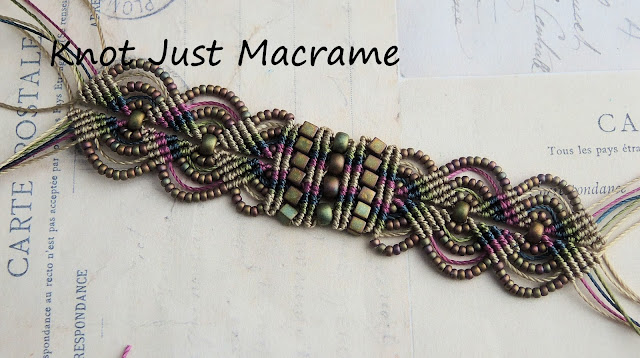 Micro macrame bracelet  in raku colors work in progress