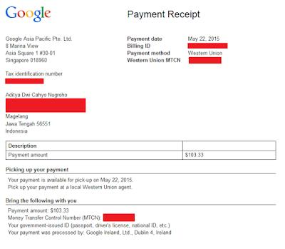 Bukti Pembayaran Google Adsense Yang Kedua