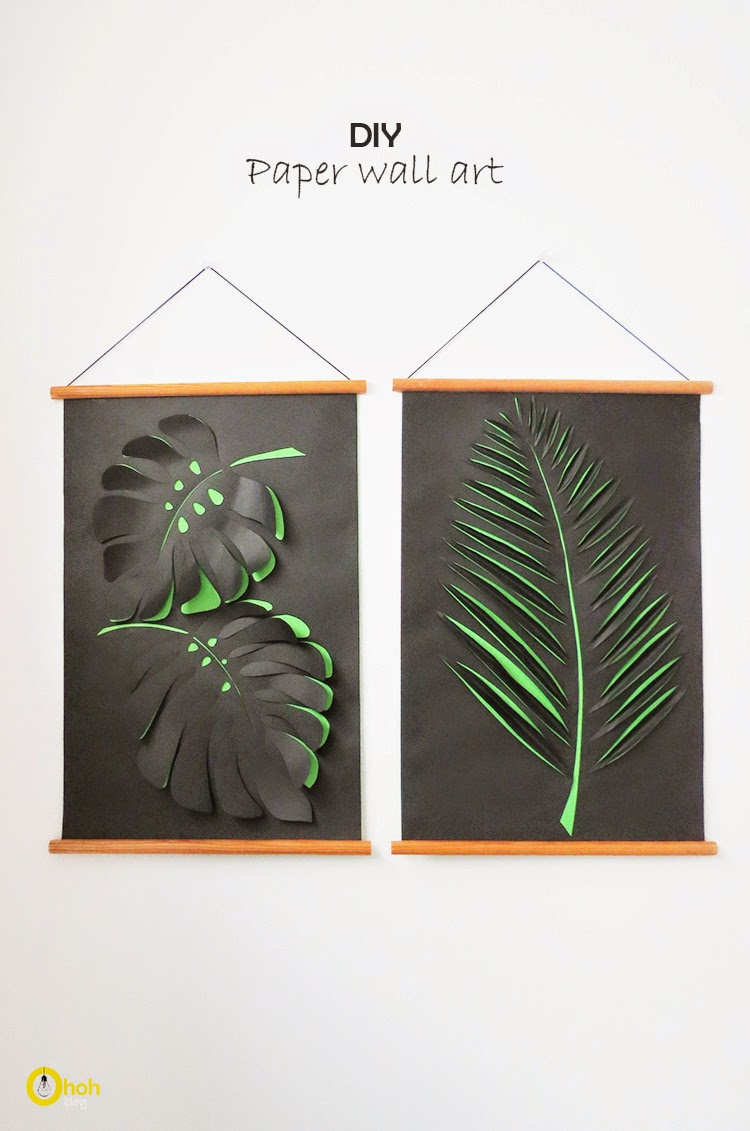 Diy paper wall art ohoh blog for Art and craft for wall decoration
