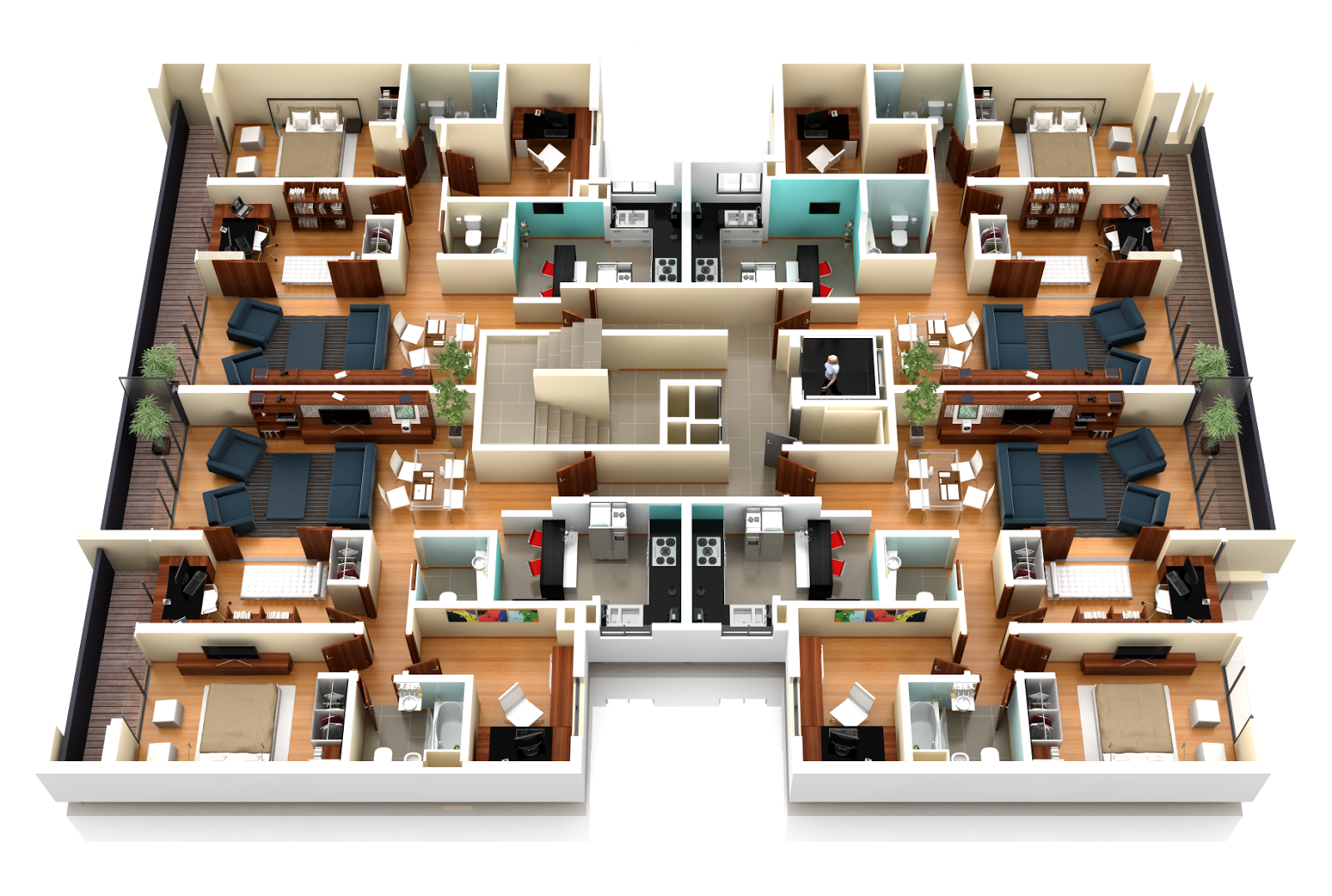 Renders arquitectura 3d animaci n y video nexarq 3d for Planos de casas de una planta en 3d