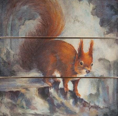 Schilderij op hout - Eekhoorn - landelijke vintage schilderijen Atelier for Hope Doetinchem
