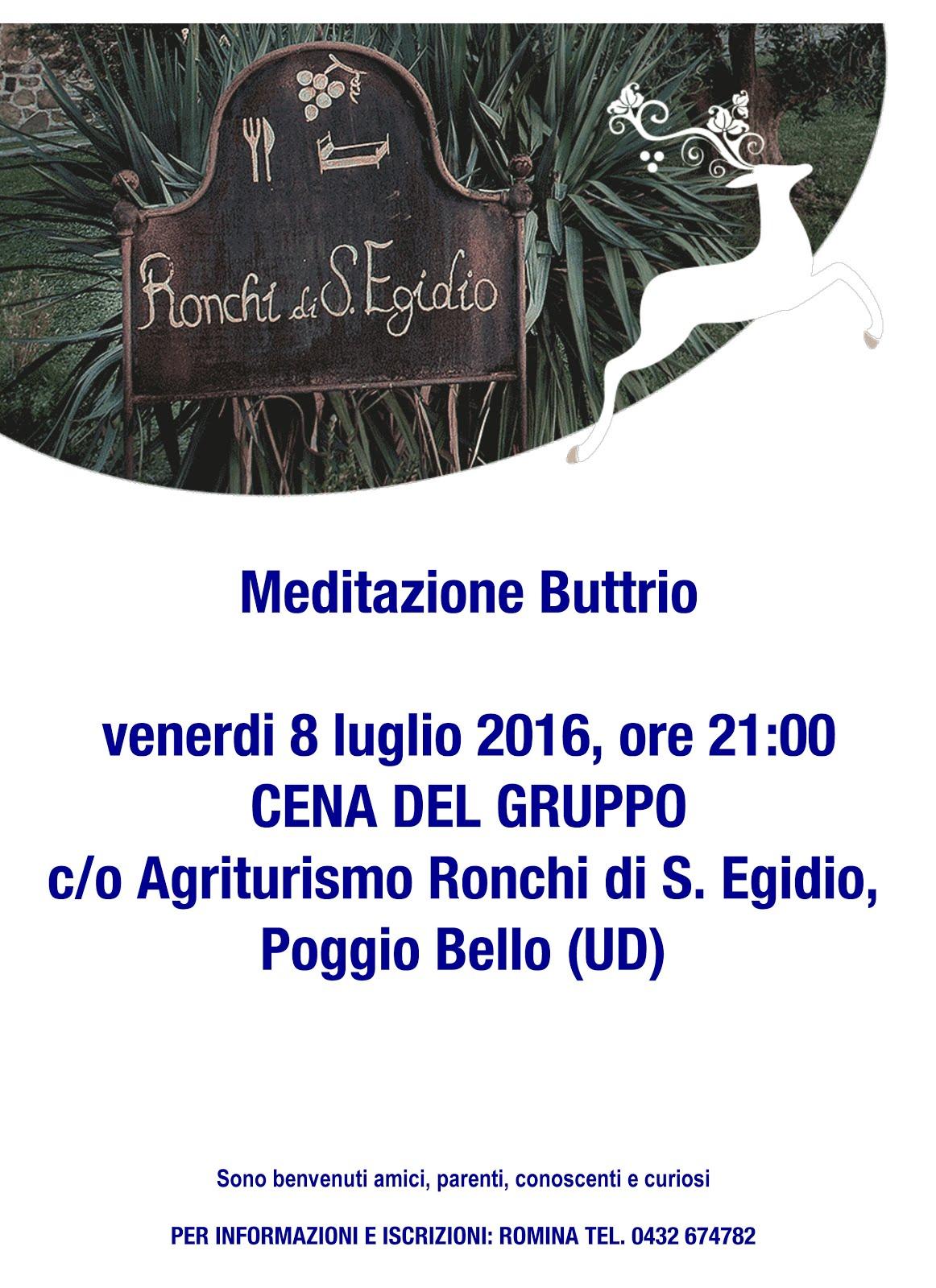 APPUNTAMENTI: cena gruppo meditazione Buttrio
