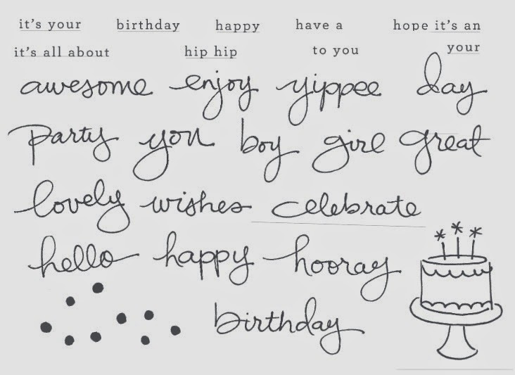 Jennifers stamp pad endless birthday wishes new photopolymer birthday greetings and more by combining the handwritten words with typed words and phrases and with photopolymer stamps usca grouping words and m4hsunfo