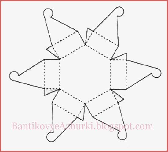Схема шестиугольной упаковки для подарка с цветочком