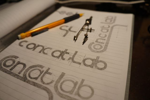 hand sketches of ConcatLab logo