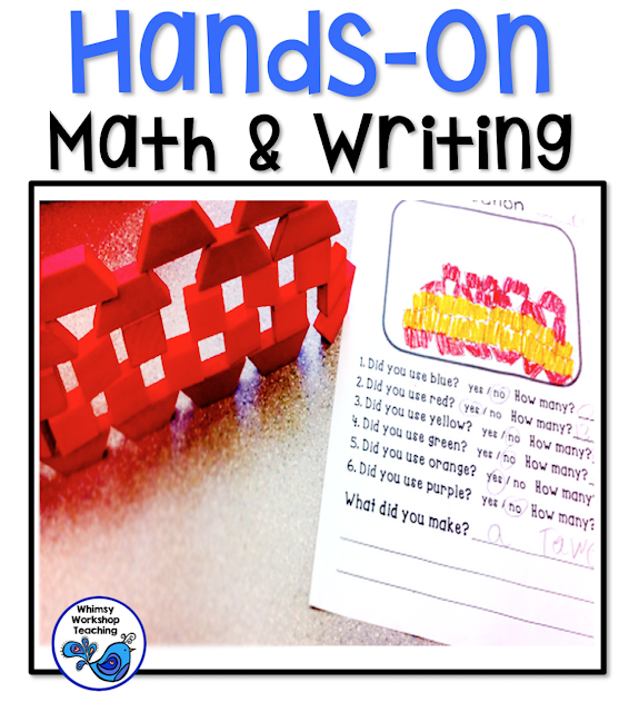 Integrate math and writing using materials students already love - hands on blocks and lego