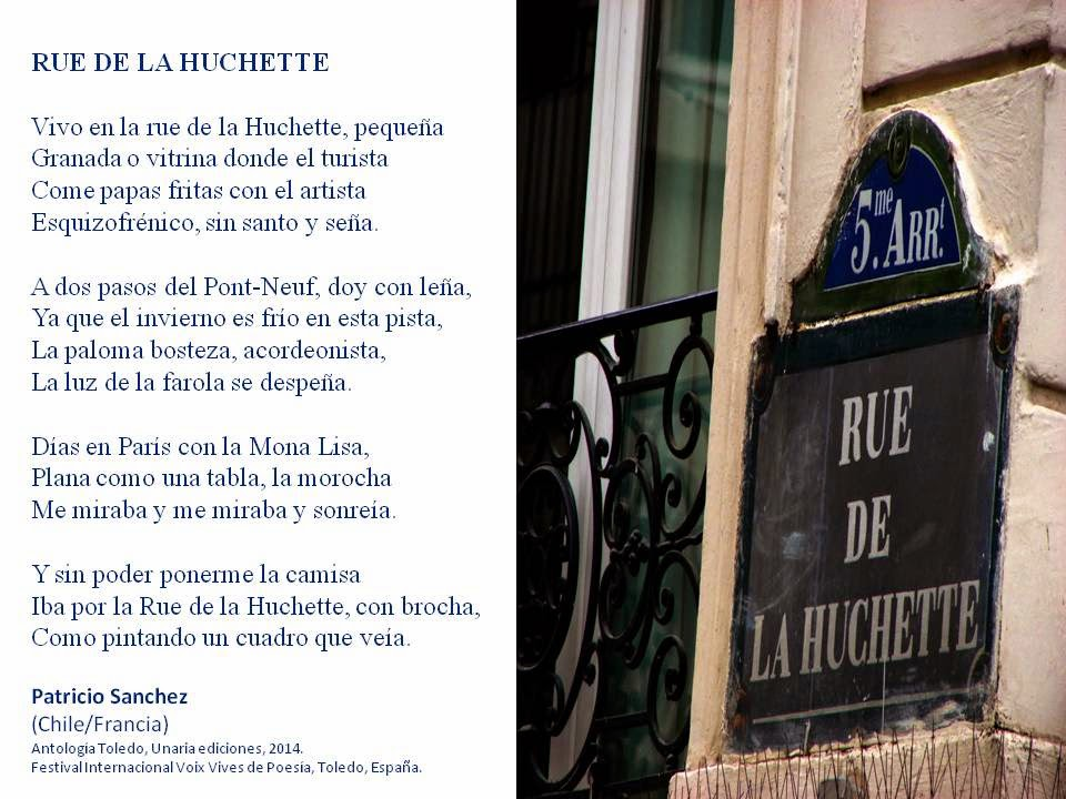 Rue de la Huchette, Patricio Sanchez, ANTOLOGIA DE POESIA, TOLEDO, ESPANA, SEPTIEMBRE 2014.
