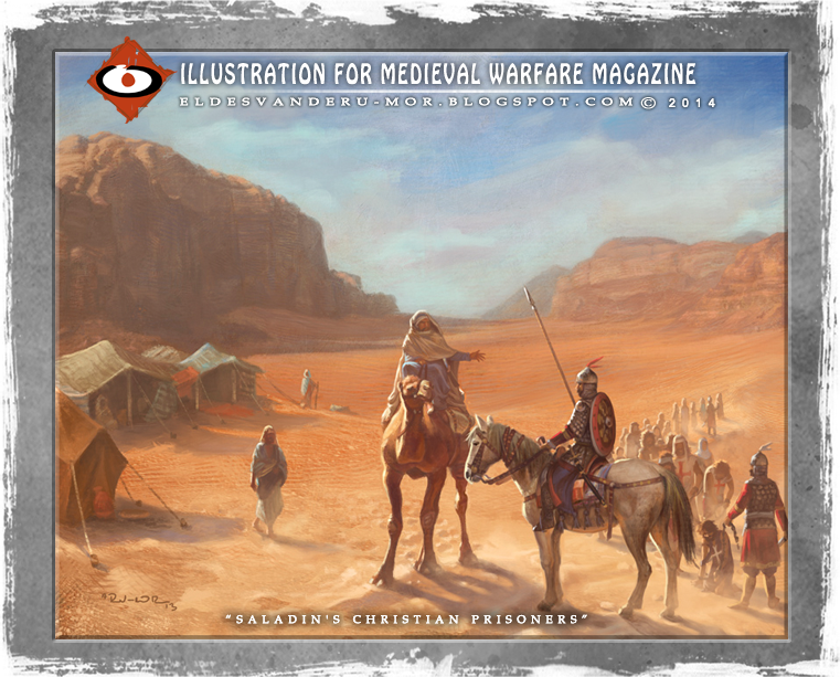 Historical Illustration by ªRU-MOR for Medieval Warfare Magazine. A column of Christian prisoners has stopped in the Syrian desert. A Bedouin chief is discussing the price of some slaves with the Saracen officer, possibly a Ghulam. Between the prisoner there are Templars and Hospitallers.