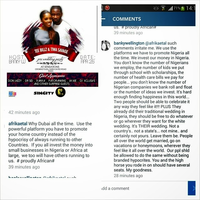 Banky W Defends Tiwa Savage and Teebillz' Dubai Wedding: 'People All Over The World Get Married Wherever They Feel Like.'