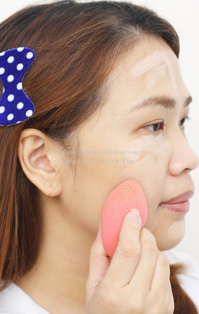 a photo of how to apply Benefit Play Stick Foundation in Light Beige