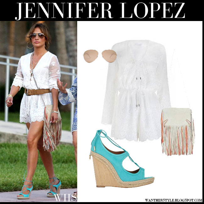 Jennifer Lopez in white lace Zimmermann Lucia silk short romper with mint aqua Aquazzura Christy wedge sandals and fringed bag barbara bonner ginger what she wore july 12 summer