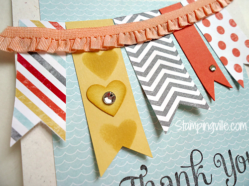 Ruffle Trim Banner Card Close-Up Detail