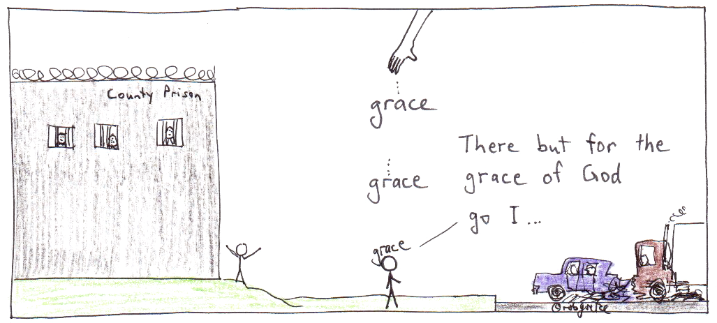 there but for the grace of God go I, cartoon by robg