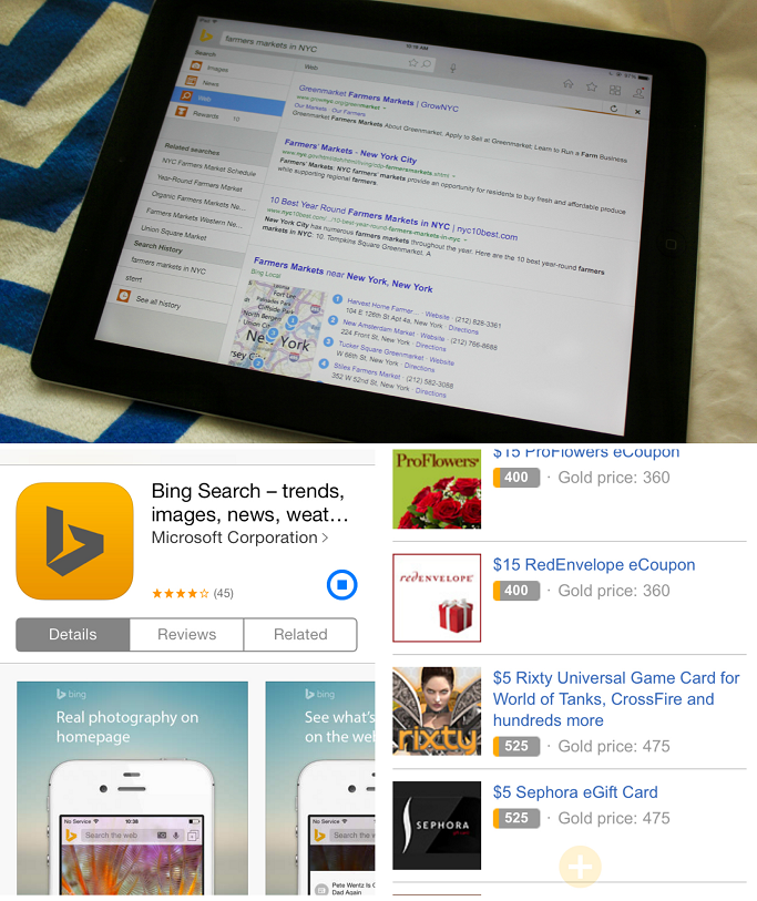 Bing Rewards app for iOS, Get Rewards With Microsoft Bing, Get Rewards For Searching The Web