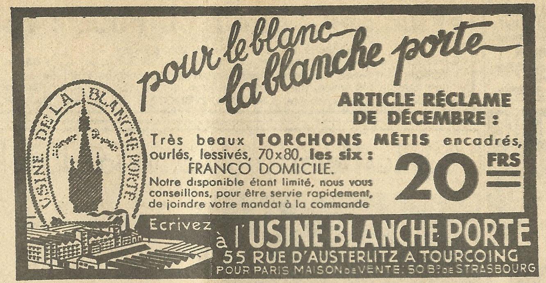 Old ads are funny 1930s french ad pour le blanc la - La balnche porte ...