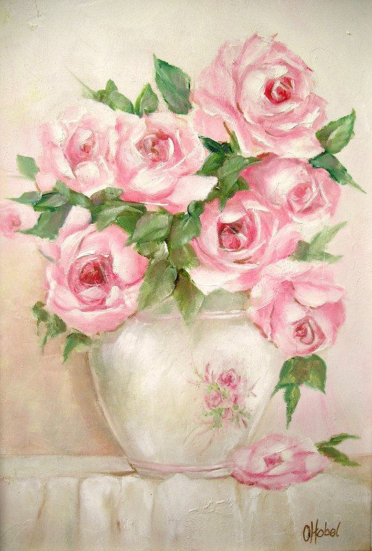 Romantic country and rose paintings i painted these glorious summer pink roses in a pretty white vase with delicate painting trim sitting on a crisp linen white cloth with a single fallen mightylinksfo
