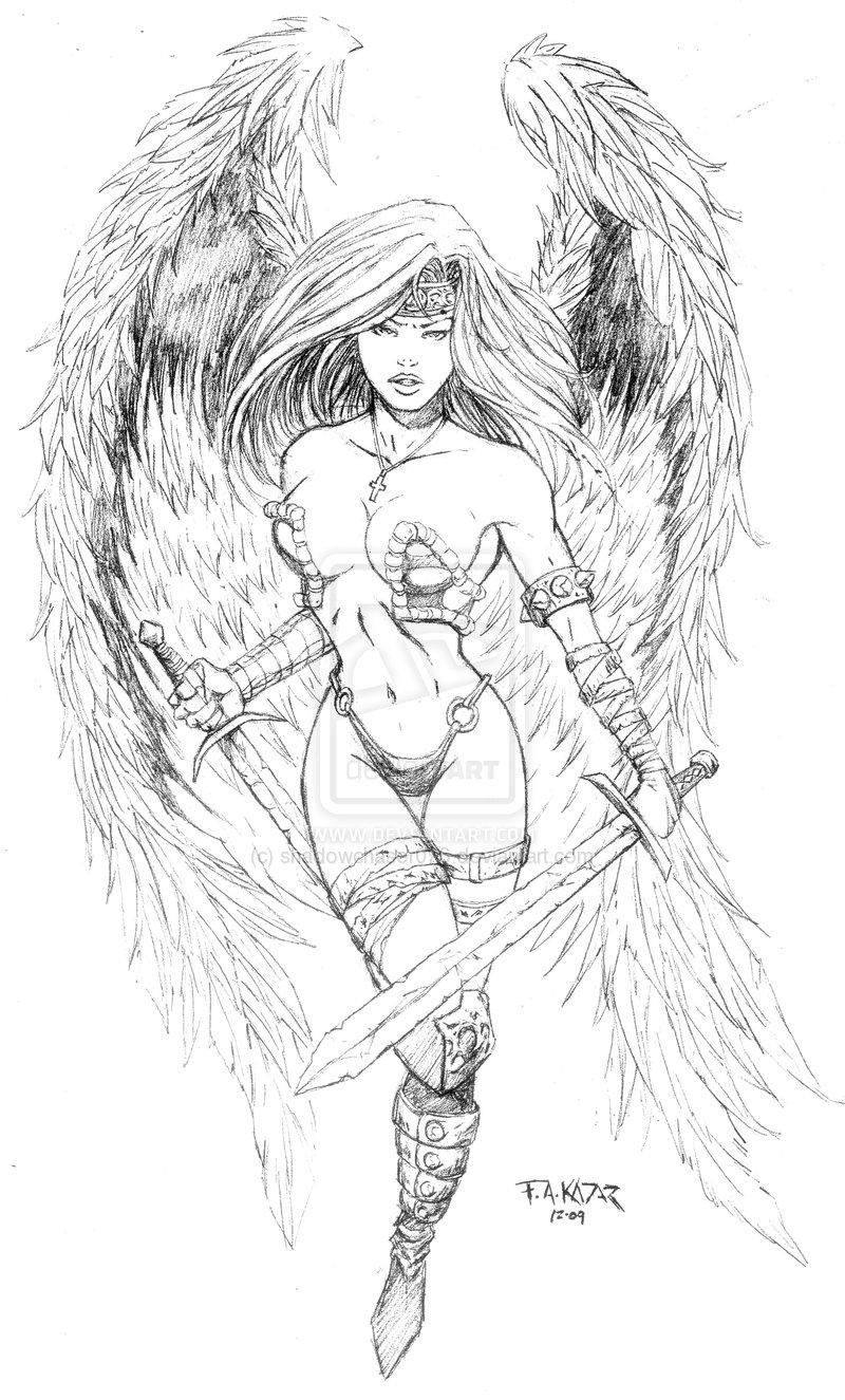 nude female angel drawings