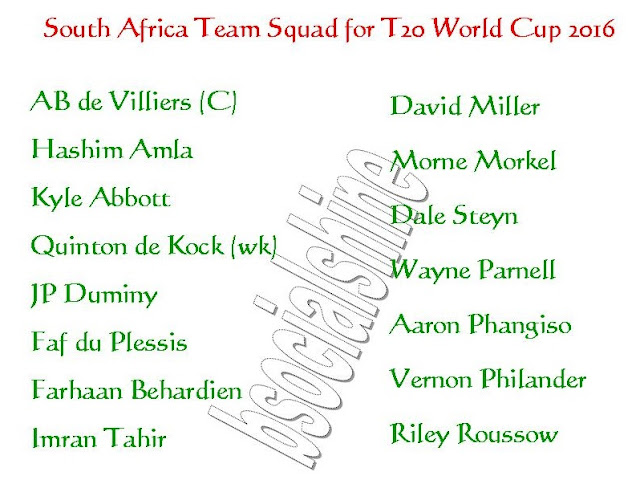 South Africa team player,South Africa 11,South Africa Team Squad for T20 World Cup 2016,player list.,ICC T20 World Cup 2016 australia team squad,South Africa team for t20 world cup 2016,player list for t20 world cup,confirmed South Africa team squad for t20 world cup 2016,South Africa team squad 2016,final 11 player,South Africa final 11 player for t20 world cup 2016,South Africa player list,2016 ICC World Twenty20,team squad,all teams squad for t20 world cup 2016 ICC T20 World Cup 2016 South Africa Team Squad, South Africa Player list,   Click this link for more detail...    South Africa Players List : AB de Villiers (C), Hashim Amla, Kyle Abbott, Quinton de Kock (wk), JP Duminy, Faf du Plessis, Farhaan Behardien, Imran Tahir, David Miller, Morne Morkel, Dale Steyn, Wayne Parnell, Aaron Phangiso, Vernon Philander, Riley Roussow,