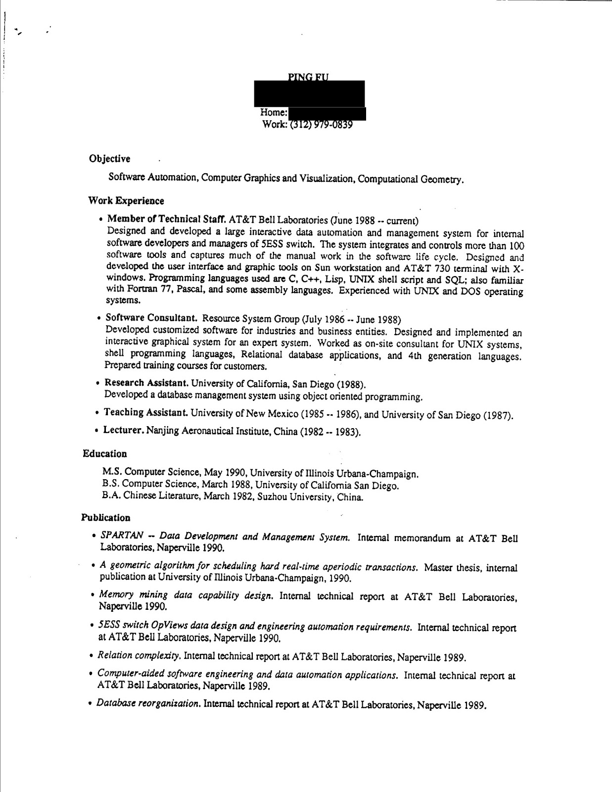 Document: Fu Ping's Resume at University of Illinois