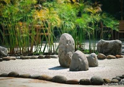 foto 1 jardin minimalista zen con piedras y papiro