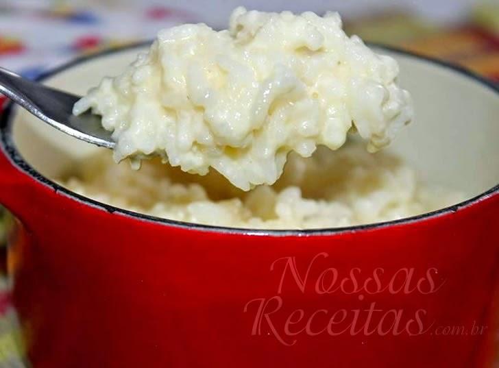 Receita de Arroz cremoso preparado com queijo