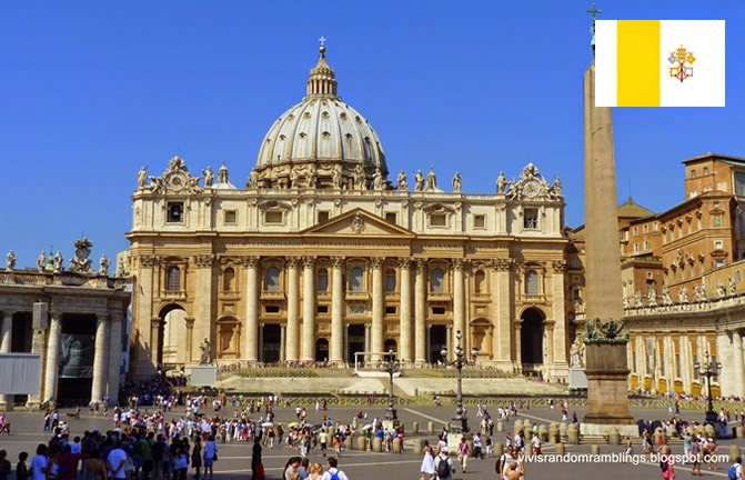 Vatican City - smallest country ranked 1st