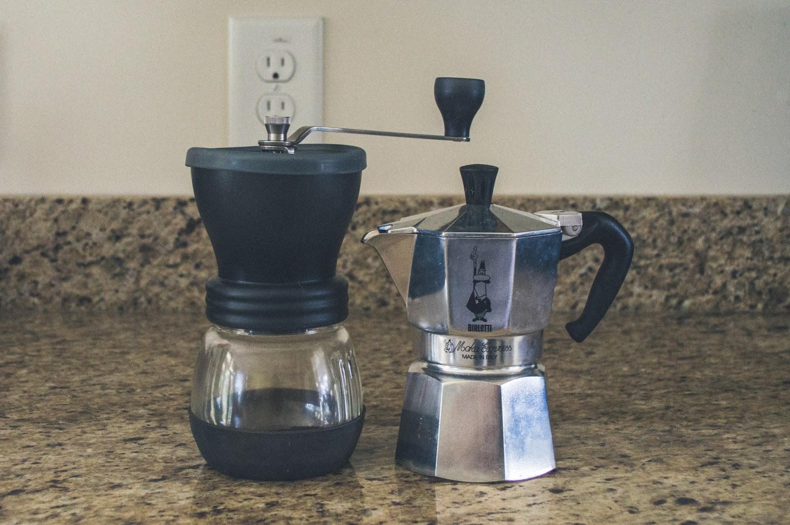 Hario Ceramic Mill Skerto & Bialetti Moka Express 3-cup Stovetop Espresso Maker