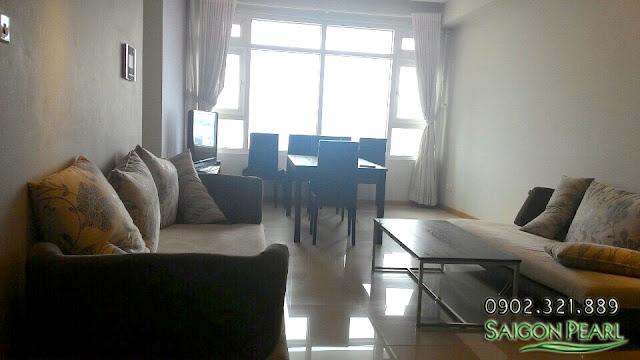 Phòng khách căn hộ Saigon Pearl 86m2 cho thuê