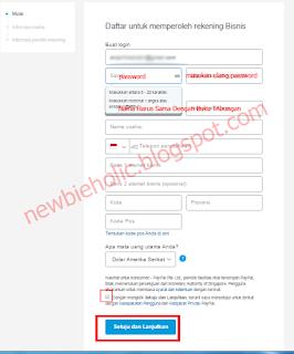 isi formulir pendaftaran paypal