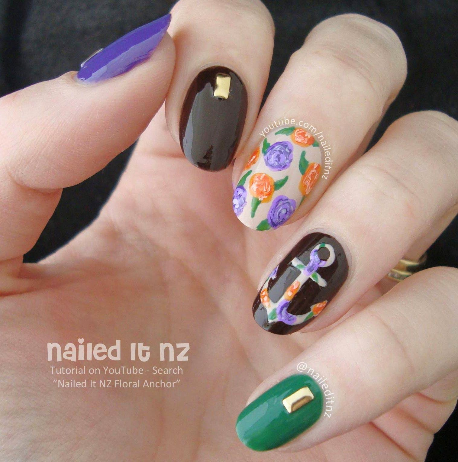 Floral Anchor Nail Art Tutorial